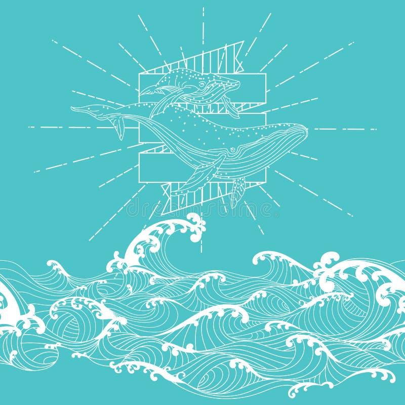 Ręka rysujący fantazi doodle bezszwowy styl, wieloryb matka i łydka, royalty ilustracja