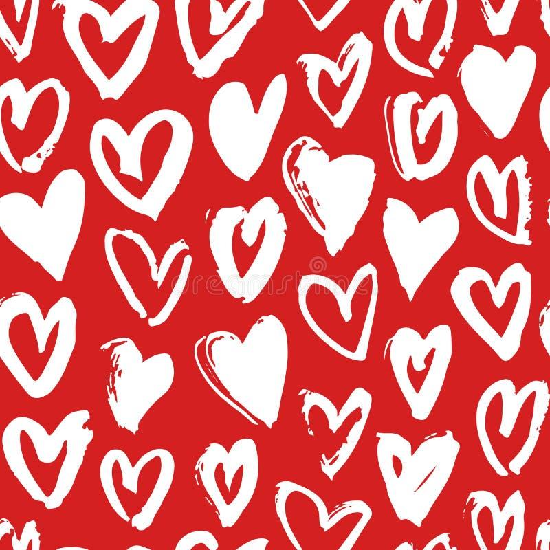 Ręka rysujący farba bezszwowy wzór Czerwony i biały wektorowy serca tło Abstrakcjonistyczny szczotkarski rysunek ilustracji