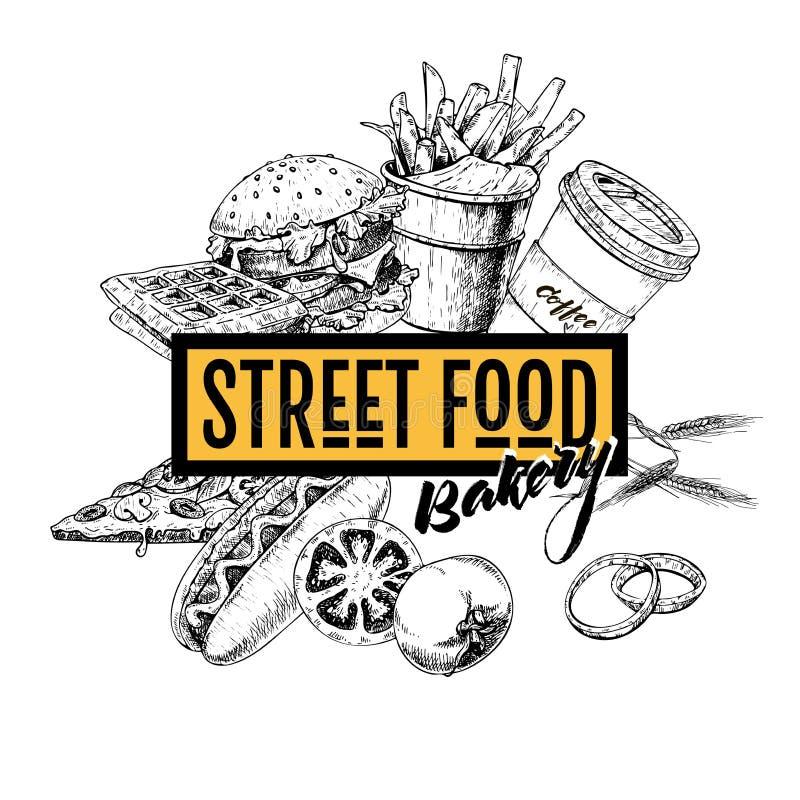 Ręka rysujący fasta food sztandar Uliczna karmowa piekarnia Hamburger, hot dog, francuscy dłoniaki, pizza, kawa i waffels, grawer ilustracji