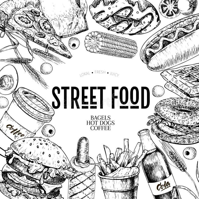Ręka rysujący fasta food sztandar Uliczna karmowa piekarnia Hamburger, hot dog, francuscy dłoniaki, pizza, kawa, soda, bagel, pąc ilustracja wektor