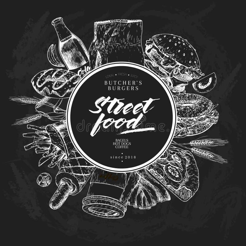Ręka rysujący fasta food sztandar Uliczny jedzenie Hamburger, hot dog, soda, francuscy dłoniaki, pizza, kawa, bagels Chalkbord we ilustracji