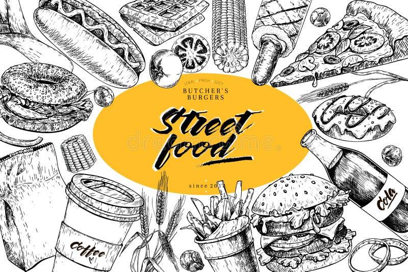 Ręka rysujący fasta food sztandar Uliczny karmowy piekarnia hamburger, hot dog, francuscy dłoniaki, pizza, kawa, soda, bagel, pąc ilustracja wektor