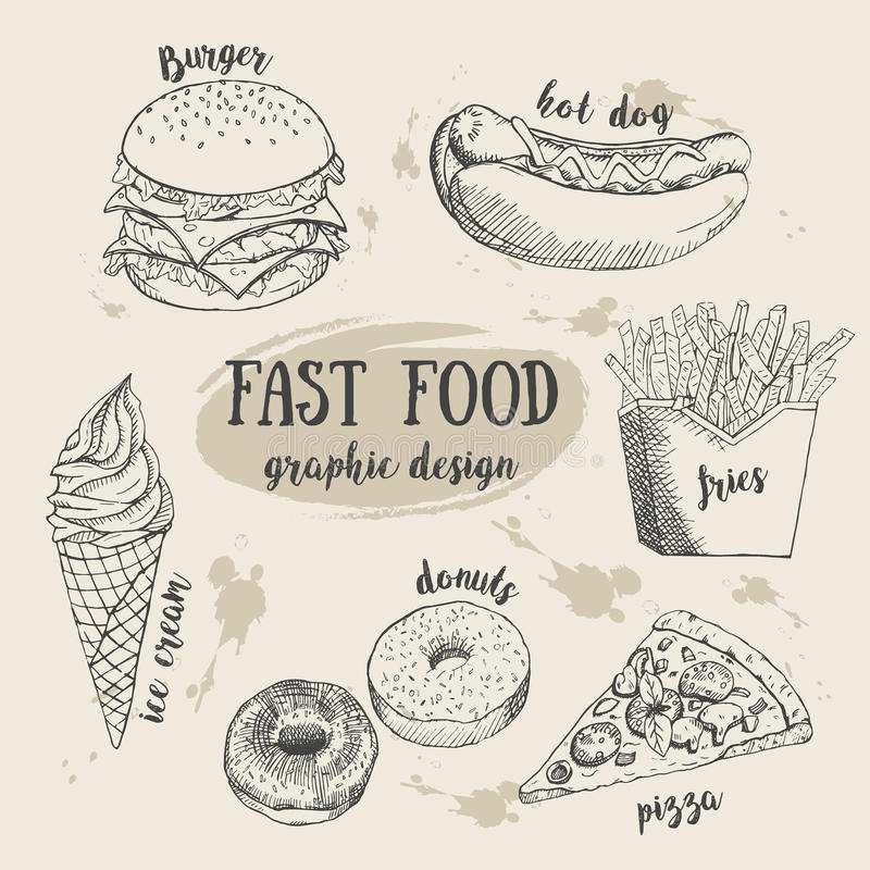 Ręka rysujący fastfood set Kreatywnie wektorowa ilustracja ilustracja wektor