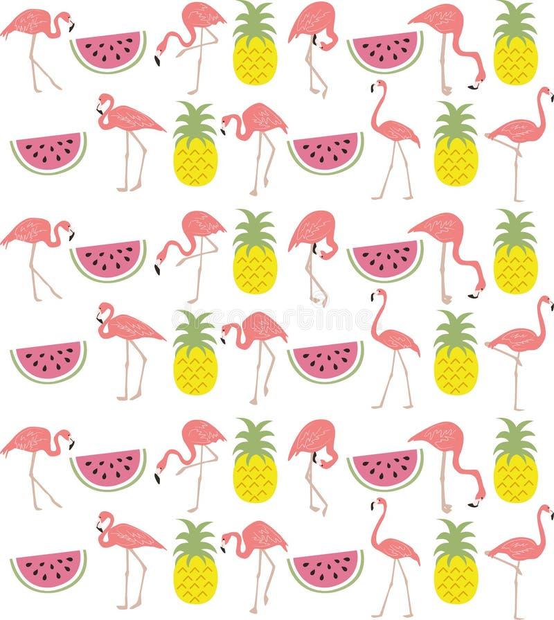 Ręka rysujący flaming, arbuz & ananasowy powtórka wzór, ilustracji