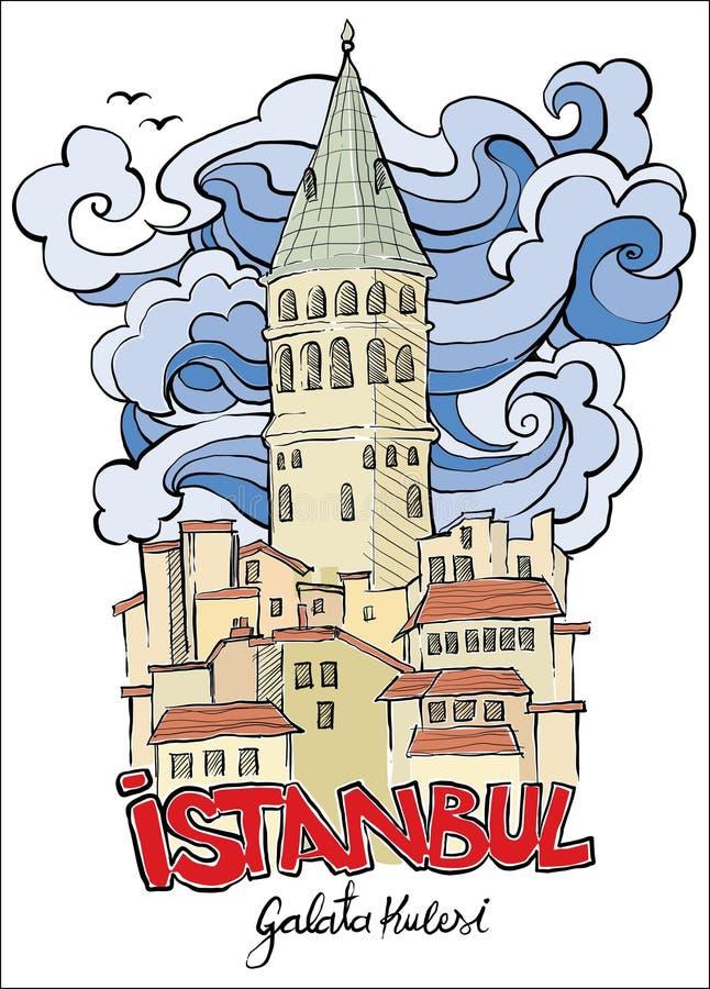 Ręka rysujący galata wierza Istanbul ilustracja wektor