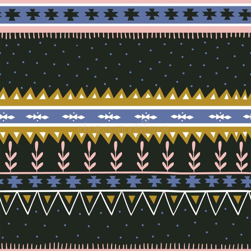 Ręka rysujący geometryczny bezszwowy wzór Elegancki scandinavian tkanina projekt ilustracja wektor
