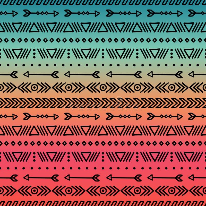 Ręka rysujący geometryczny etniczny plemienny bezszwowy wzór napojów ilustraci papieru retro tematu wektoru opakowanie scrapbook  ilustracja wektor