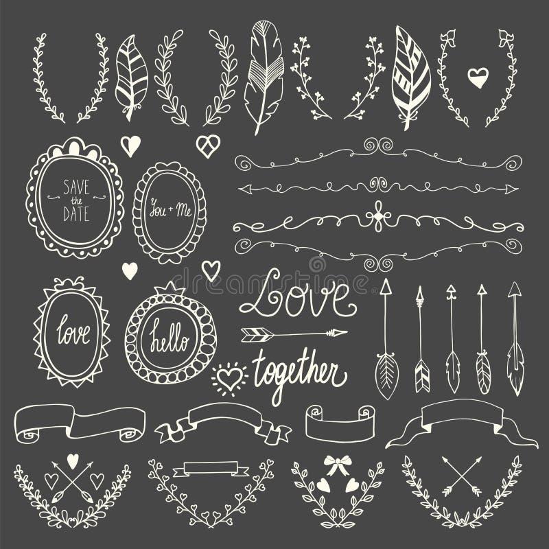 Ręka rysujący grafika set Poślubiać ustawiam strzała, bobek, wianki, ilustracja wektor