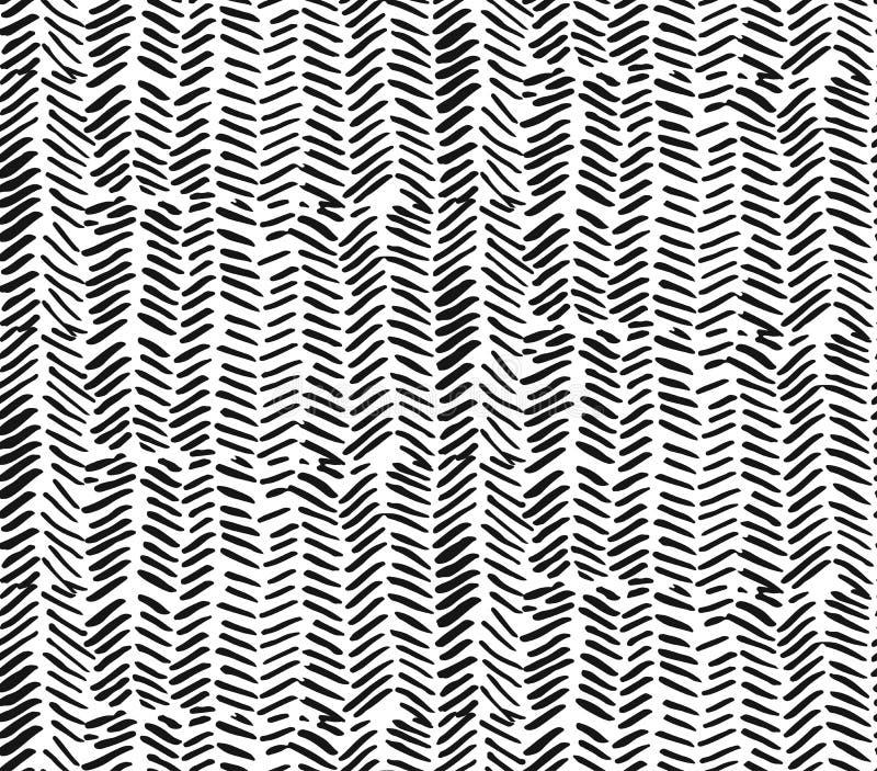 Ręka rysujący grafiki muśnięcie muska textured zygzakowatego wzór Bezszwowy wektorowy abstrakt malujący wzór ilustracji