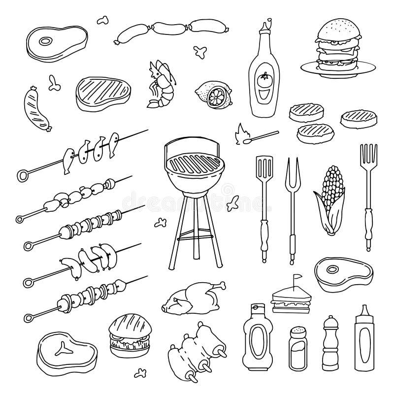 Ręka rysujący grilla set ilustracji
