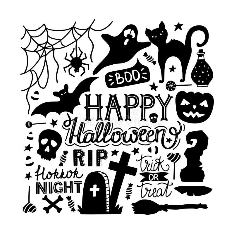 Ręka rysujący Halloween doodles druk z literowaniem, banią, nietoperzem, kotem, duchem i innymi elementami, ilustracja wektor