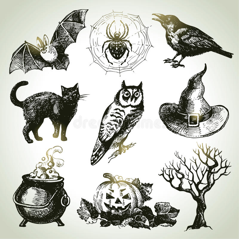 Ręka rysujący Halloween set ilustracja wektor