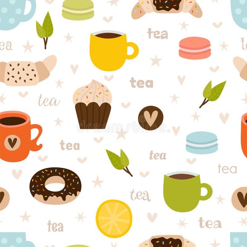R?ka rysuj?cy herbaciany bezszwowy wz royalty ilustracja
