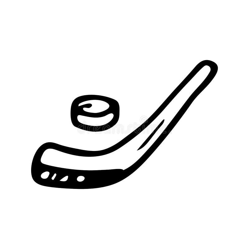 Ręka rysujący hokejowego kija doodle Nakreślenie zimy ikona Dekoracja element pojedynczy białe tło również zwrócić corel ilustrac ilustracja wektor