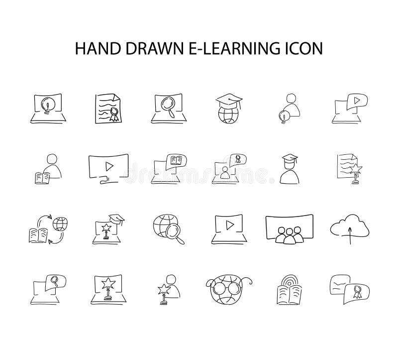 Ręka rysujący ikona set Nauczanie online paczka ilustracji