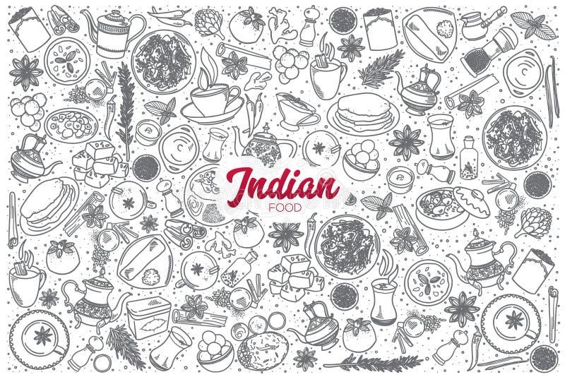 Ręka rysujący Indiański karmowy ustawiający z literowaniem royalty ilustracja