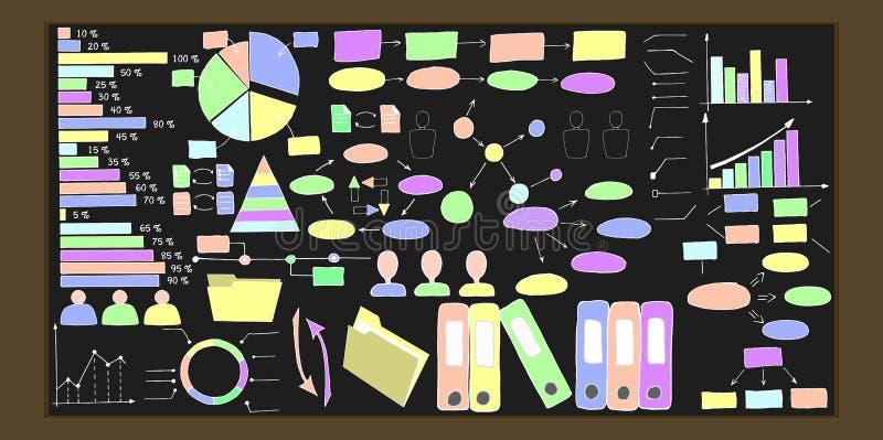 Ręka rysujący infographic elementy Wektorowa kolekcja obrazy stock