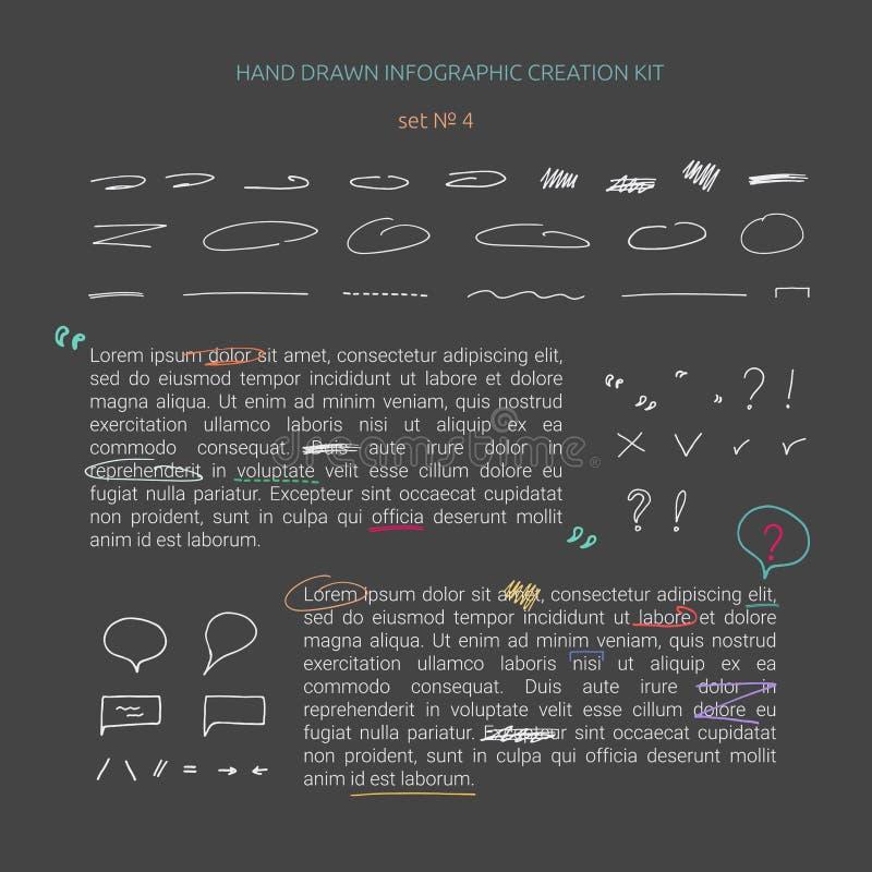 Ręka rysujący infographic tworzenie zestaw ilustracja wektor