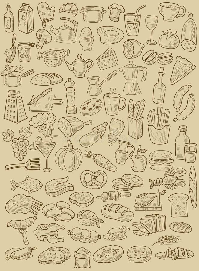 Ręka rysujący jedzenie royalty ilustracja