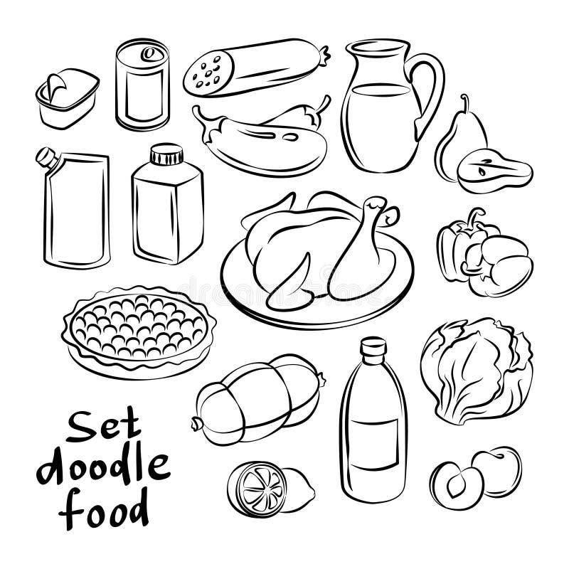 Ręka rysujący jedzenie przedmioty Freehand doodles jedzenia kolekcja royalty ilustracja