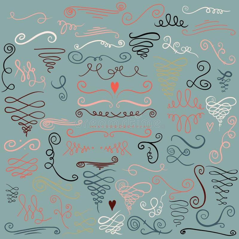 Ręka rysujący kędziory, dekoracyjni zawijasy inkasowi i Rocznika projekta elementy Kaligraficzny elementu zawijasa set Romantyczn ilustracji