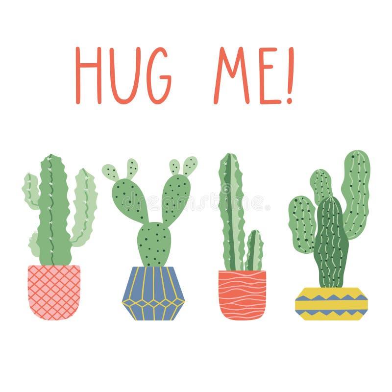 Ręka rysujący kaktusa druk z śmiesznym literowaniem ilustracji