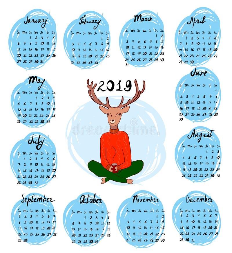 Ręka rysujący kalendarz dla 2019 ilustracji