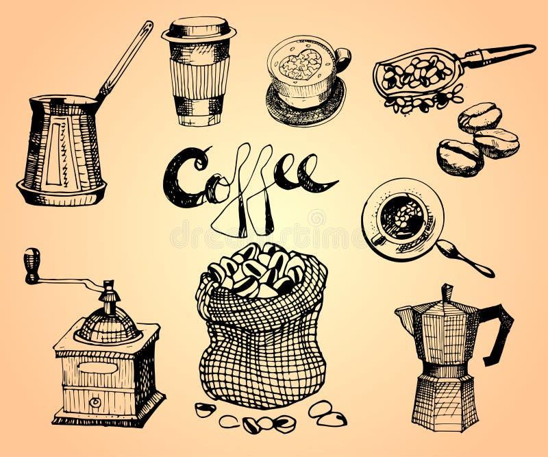 Ręka rysujący kawowy set 4 krów graficzny ilustracyjny setu wektor projektuje elementy dla menu, Restauranr, sklep, sklep z kawą royalty ilustracja