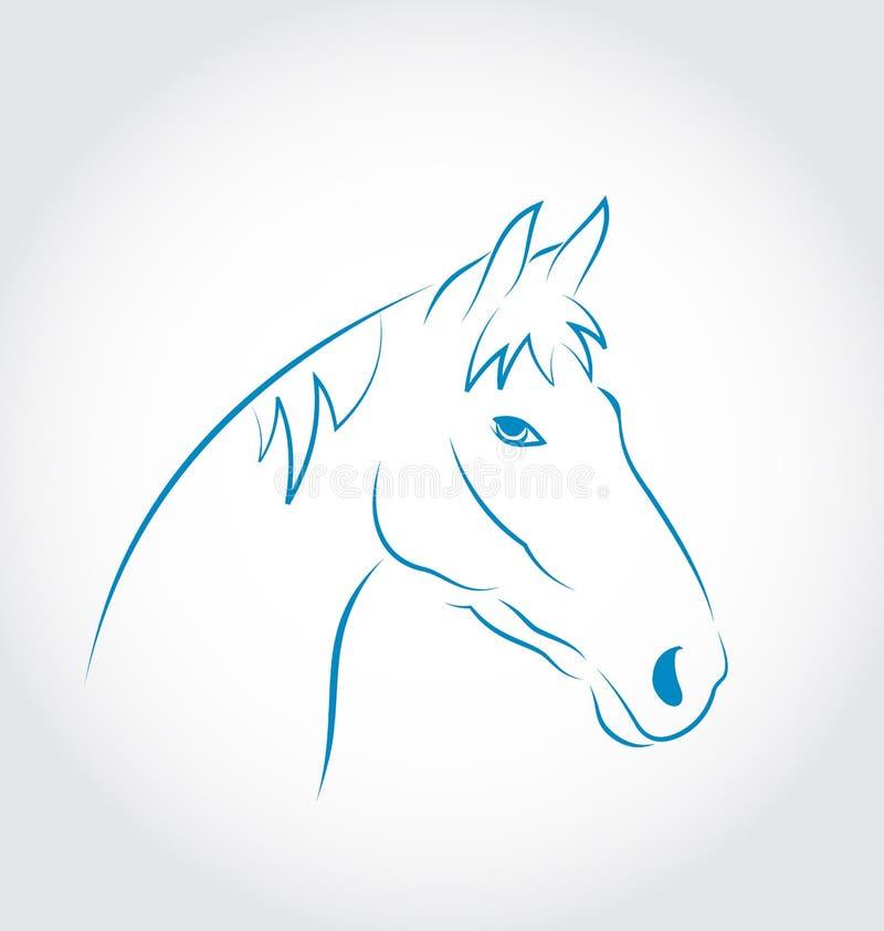 Ręka rysujący kierowniczy koń na białym tle ilustracji
