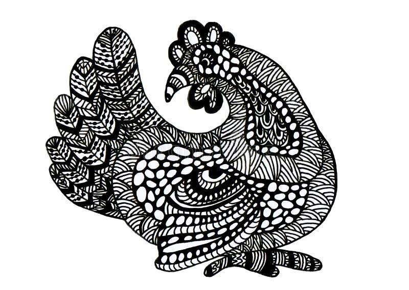 Ręka rysujący kogut ilustracji