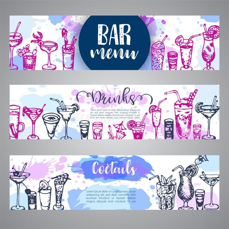 Ręka rysujący koktajli/lów sztandary Nakreślenie alkoholu napój w różnym szkle Wektorowy illustaration ilustracji