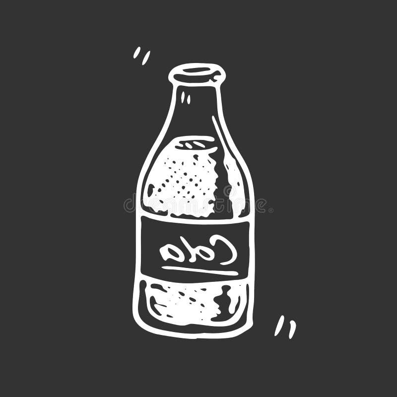 Ręka rysujący koli butelki doodle Nakreślenia jedzenie i napój, ikona odszyfrowywa ilustracja wektor