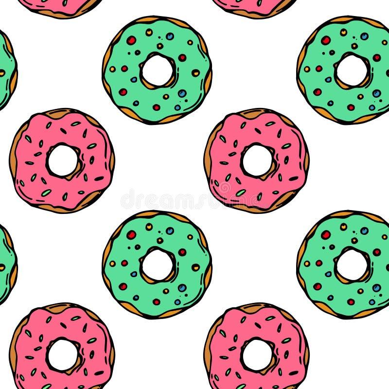 Ręka rysujący kolorowego pączka bezszwowy wzór Ciasto ilustracja Wektorowy piekarni tła projekt Dla pakować, druk ilustracja wektor
