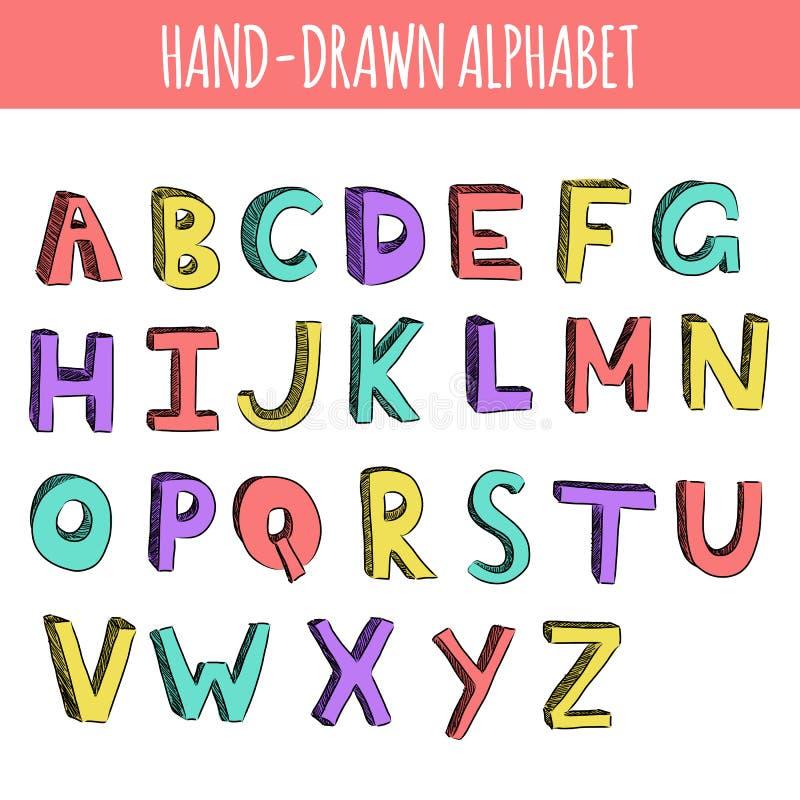Ręka rysujący kolorowy angielski abecadło ilustracji