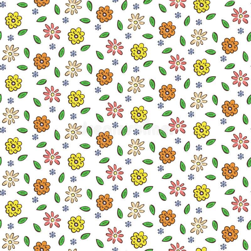 Ręka rysujący kolorowych kwiatów bezszwowy wzór royalty ilustracja