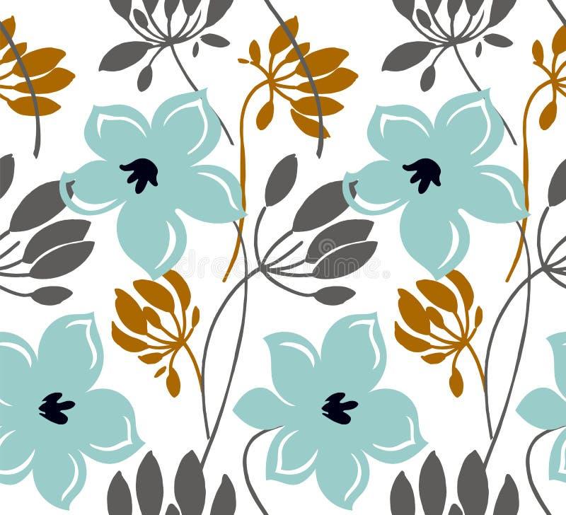 Ręka rysujący koloru wektorowy bezszwowy wzór Abstrakt kwitnie z liśćmi, nakreślenie rysunek Skandynaw stylowej kresk?wki kwiecis royalty ilustracja