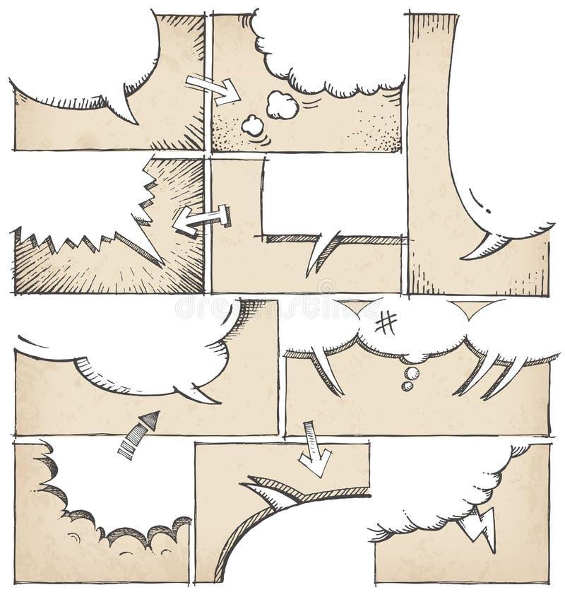 Ręka Rysujący komiks strony szablon royalty ilustracja