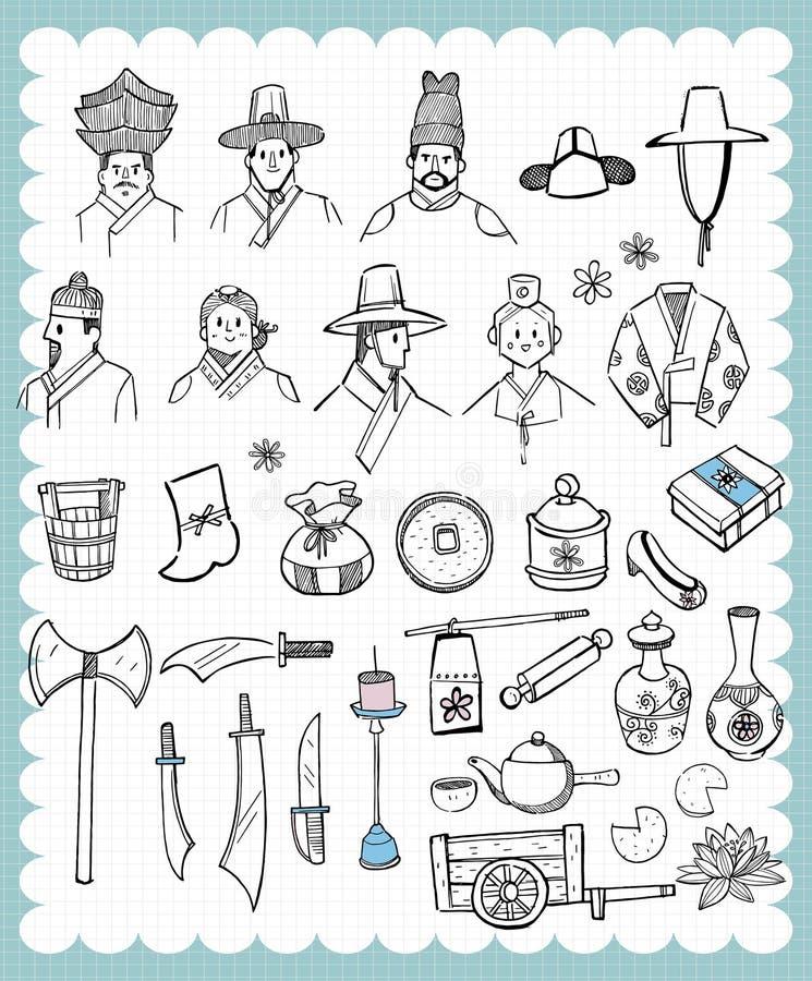 Ręka rysujący Koreańskiej tradyci ustalony b ilustracja wektor