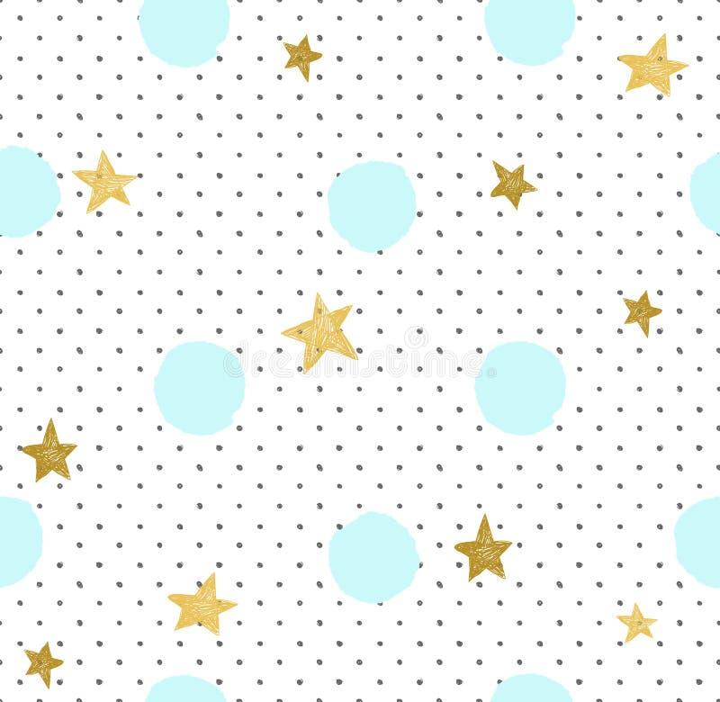 Ręka rysujący kreatywnie tło Prosty minimalistic bezszwowy wzór z złotymi gwiazdami i błękitów okręgami royalty ilustracja
