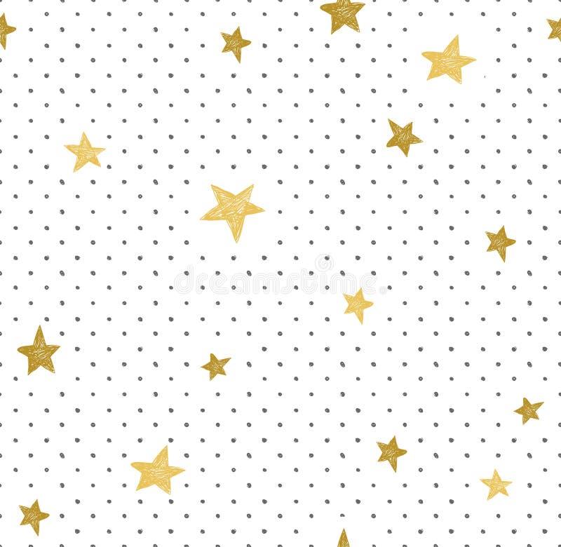 Ręka rysujący kreatywnie tło Prosty minimalistic bezszwowy wzór z złotymi gwiazdami i kropkami Ogólnoludzki projekt ilustracji