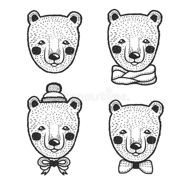 Ręka rysujący kreskówka niedźwiedzia głowy druki ustawiający Wektorowa rocznik ilustracja ilustracja wektor