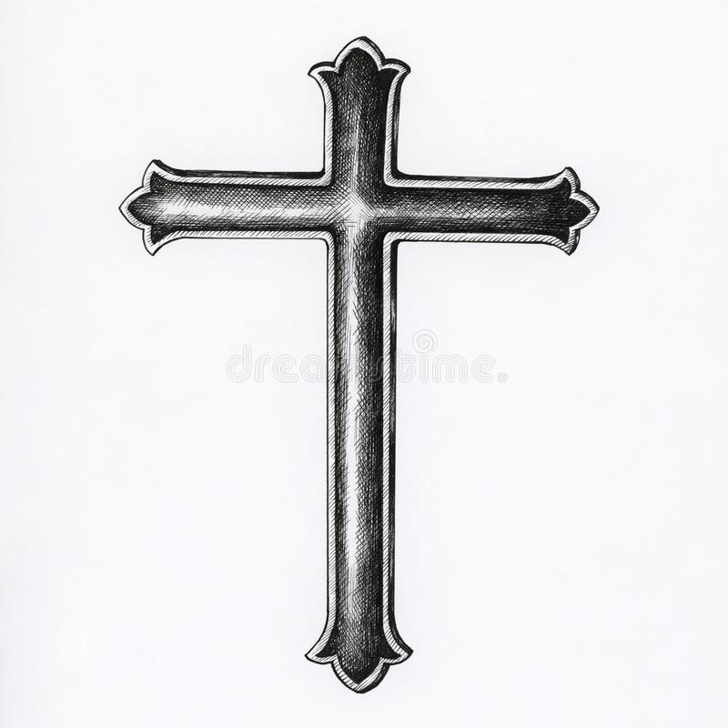 Ręka rysujący krucyfiks odizolowywający na tle ilustracji