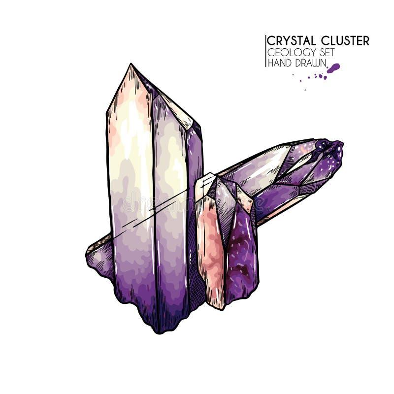 Ręka rysujący krystaliczny grono Wektorowa kopalna ilustracja Ametysta lub kwarc kamień Odosobniony naturalny klejnot Geologia se royalty ilustracja
