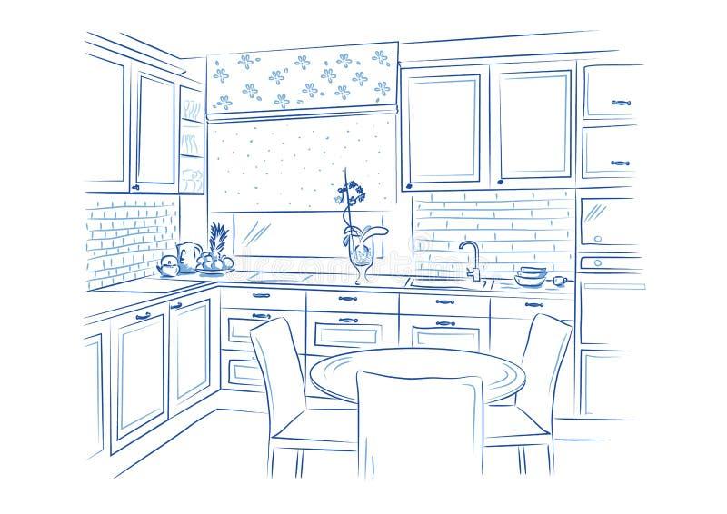 Ręka rysujący kuchenny wewnętrzny nakreślenie projekt również zwrócić corel ilustracji wektora ilustracja wektor