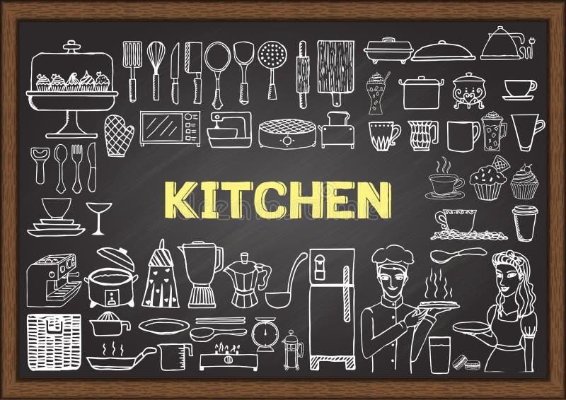 Ręka rysujący kuchenny wyposażenie na chalkboard Doodles lub elementy dla restauracyjnego projekta royalty ilustracja