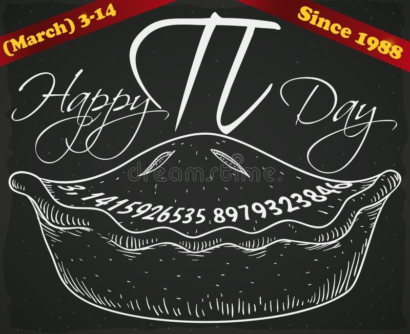 Ręka Rysujący kulebiak nad Blackboard i faborki dla Pi dnia, Wektorowa ilustracja ilustracja wektor