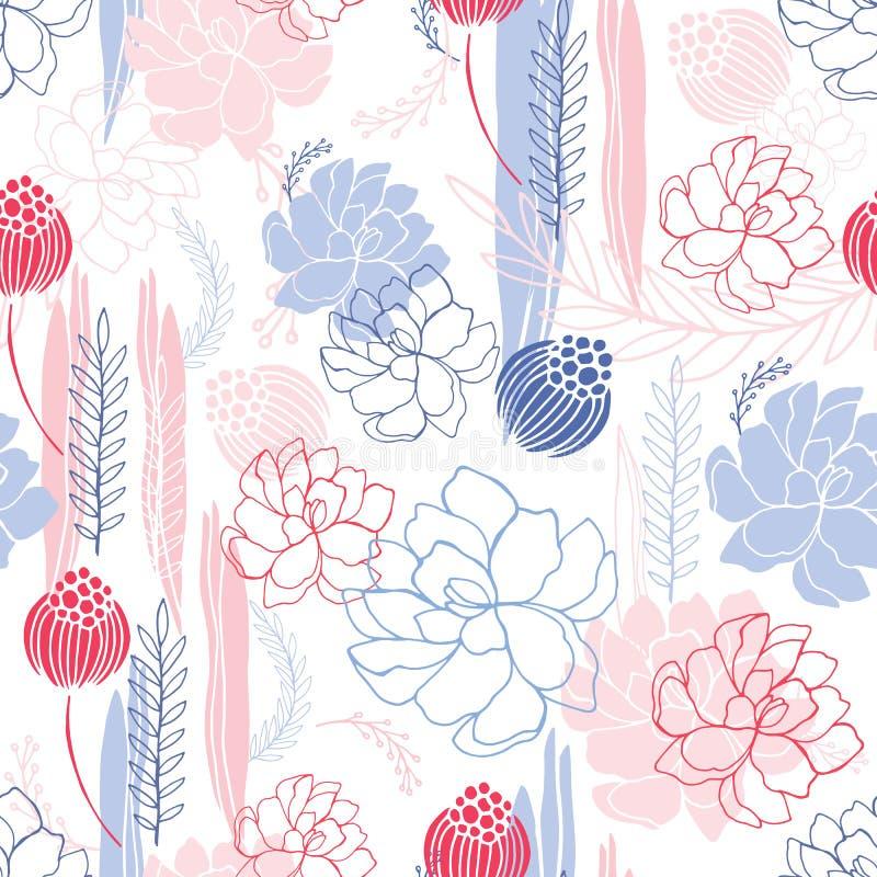 Ręka rysujący kwiecistego bezszwowego tło wzoru Romantyczni kwiaty royalty ilustracja