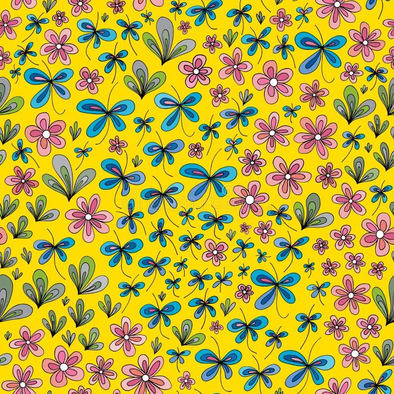Ręka rysujący lato kwiecisty wzór Wektorowej abstrakcjonistycznej natury bezszwowy tło ilustracji