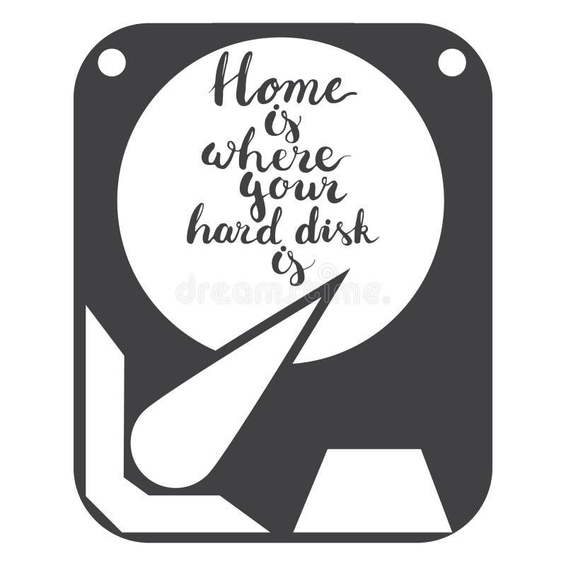 Ręka rysujący literowanie zwrota dom jest dokąd twój dysk twardy odizolowywa na białym tle z ikoną dysk twardy royalty ilustracja