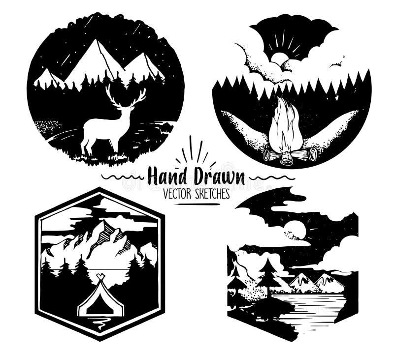 Ręka Rysujący loga set Modna kolekcja plenerowa firma, camping, przygod etykietki halny camping, ognisko i ilustracji